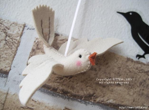 Шьем веточку с птичкой из фетра. Фото мастер-класс (23) (627x462, 144Kb)
