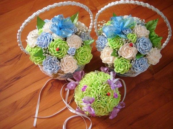Цветы из гофрированной бумаги в корзинке своими руками