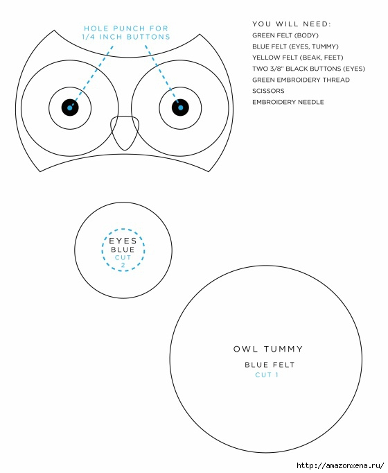 Игрушки из фетра. Выкройки совы, зайца и мишки (1) (560x682, 84Kb)