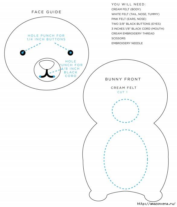 Игрушки из фетра. Выкройки совы, зайца и мишки (3) (586x686, 126Kb)