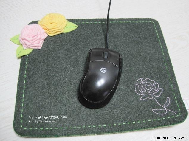 Шьем подставку для компьютерной мыши, из сукна с цветами из фетра (1) (634x473, 190Kb)
