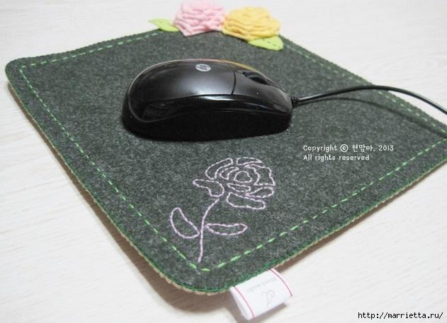 Шьем подставку для компьютерной мыши, из сукна с цветами из фетра (3) (631x457, 167Kb)