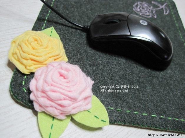Шьем подставку для компьютерной мыши, из сукна с цветами из фетра (20) (628x471, 179Kb)