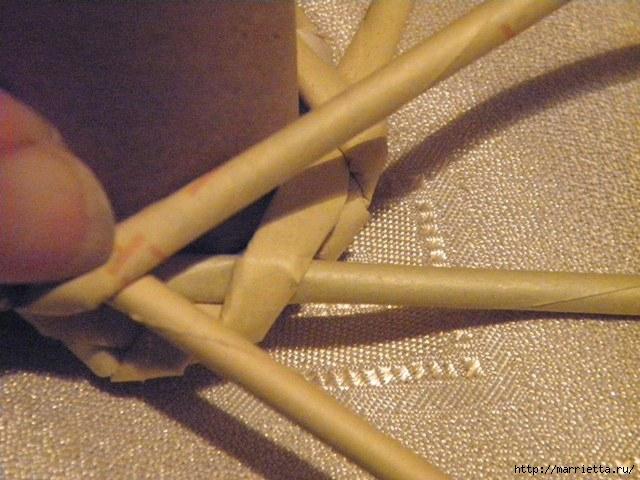 плетение из газет. венок спиральным плетением для пасхального декора (9) (640x480, 180Kb)