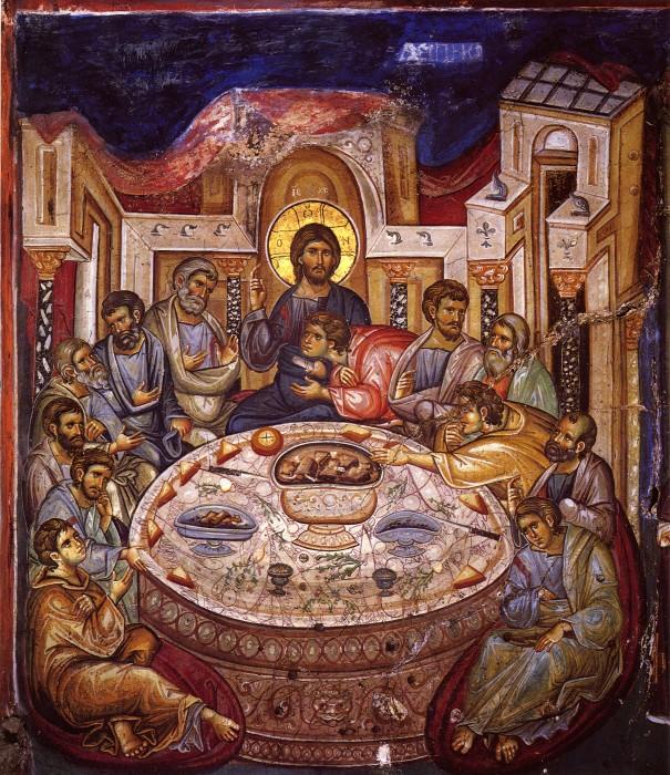 Тайная вечеря. Фреска 1312 г. Кафоликон Ватопедского монастыря. Афон (605x700, 204Kb)