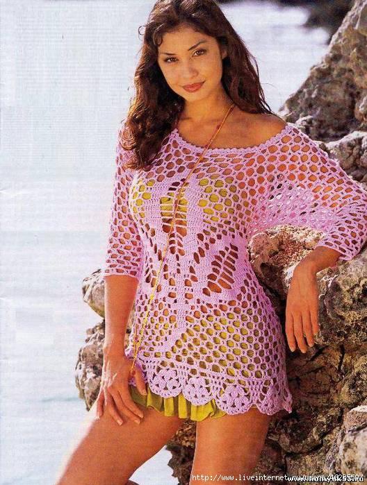 Вязаные летние платья и туники 8