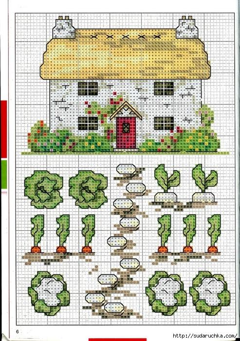 Point de croix grilles russes gratuites maison fleurs - Maison point de croix ...