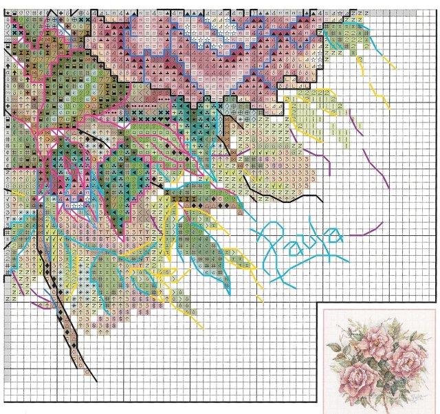 Вышивка на подушках.  РОЗЫ.  Блог Марриэтты.  Схема вышивки роз для подушек.  Прочитать целикомВ.