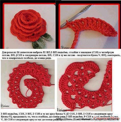 Вязание крючком роза схемы