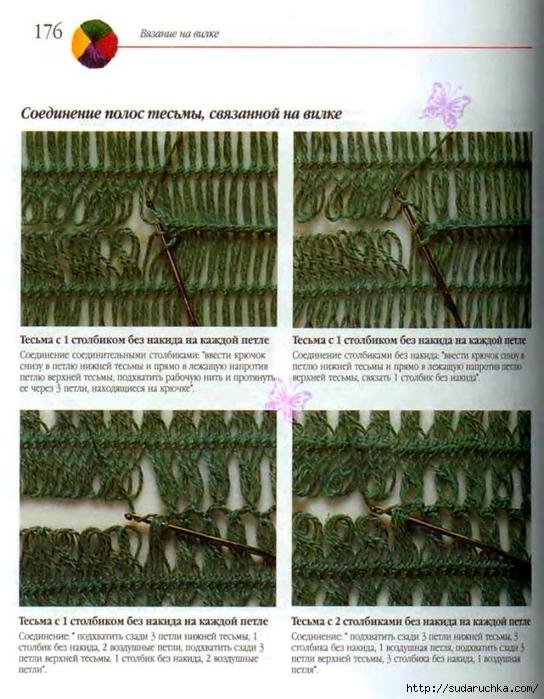 Вязание на вилке, схемы.