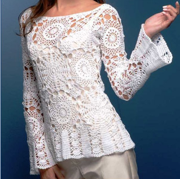 белые ажурные блузы