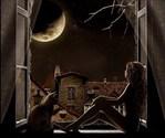 """Ночные посиделки, ночь, кошка, девушка.  Оригинал схемы вышивки  """"Ночные посиделки """" ."""