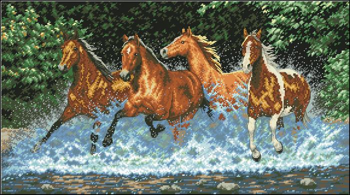 Бегущие кони по реке (700x391, 387Kb)