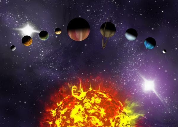 Иллюстрированная схема, показывающая порядок планет в нашей солнечной системе.  Аннотация иллюстрации планет в...