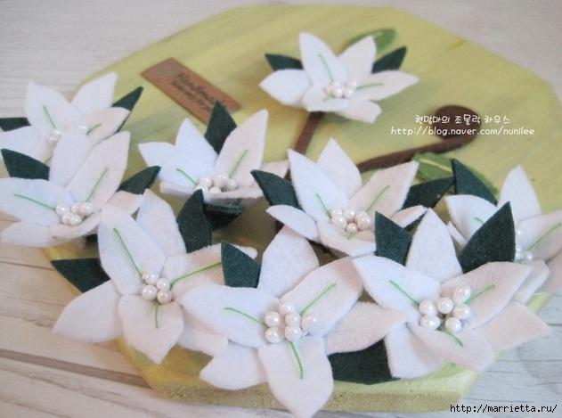 Белые цветы из фетра. Панно своими руками (22) (631x469, 144Kb)