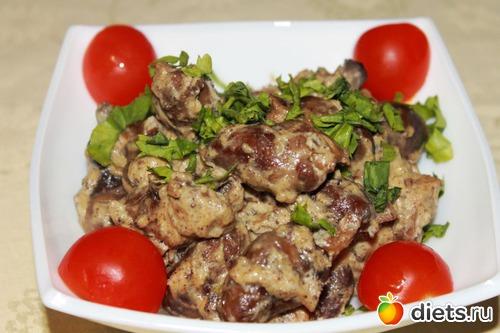 Рецепты куриные сердечки сливках