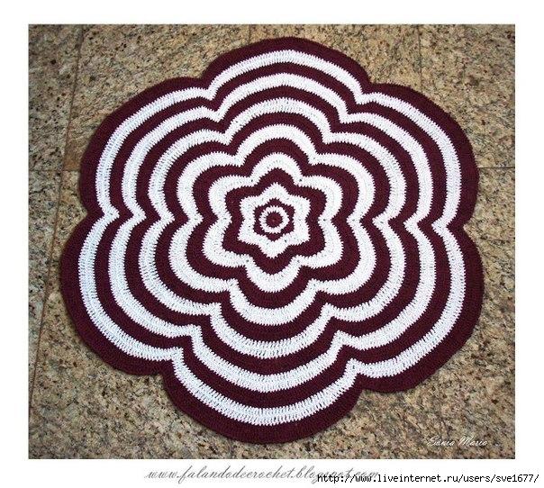 """钩针:""""花""""型地板垫 - maomao - 我随心动"""