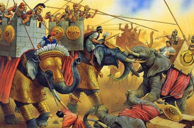 Карфагенские слоны в битве с римлянами.  Вероятнее всего - битва при Заме в 202 г. до н.э., наиболее достоверная...