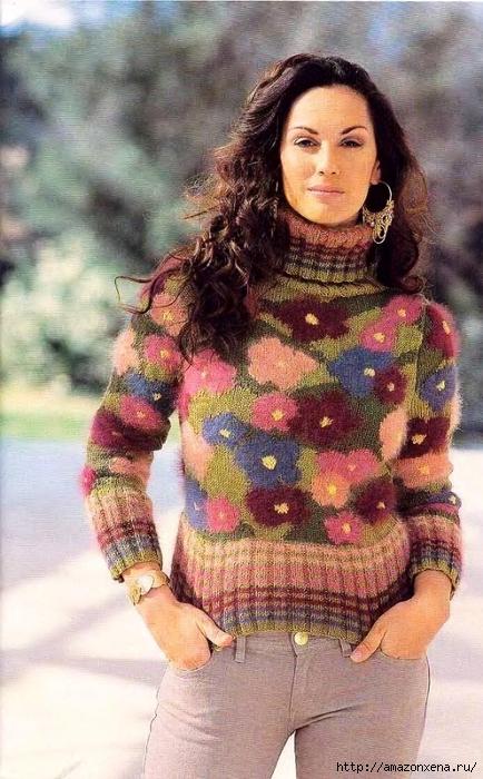 Вязание. Пуловер - Цветочное поле (3) (434x700, 279Kb)