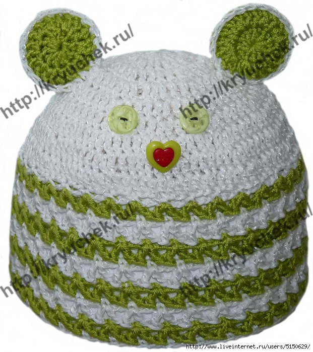 Пример, описание и схема вязания крючком летней ажурной детской шапочки.