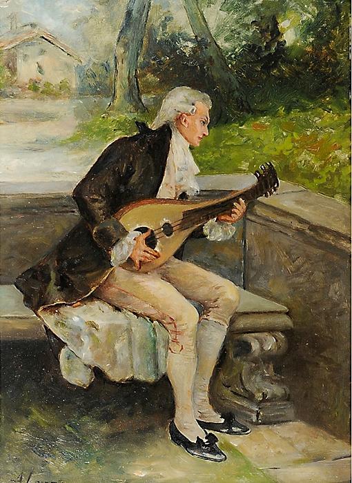 Antonio Lonza Trieste 1846-1918 Suoantore in giardino (510x700, 350Kb)