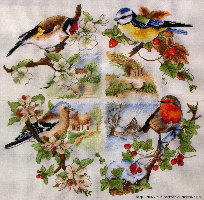 Схемы вышивки венков времена года