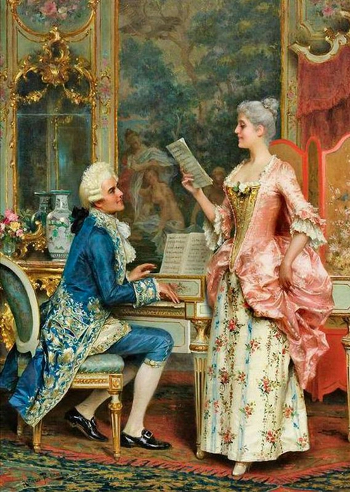 The Singing Lesson (c. 1870). Arturo Ricci (Italian, Romanticism, 1854-1919). (497x700, 324Kb)