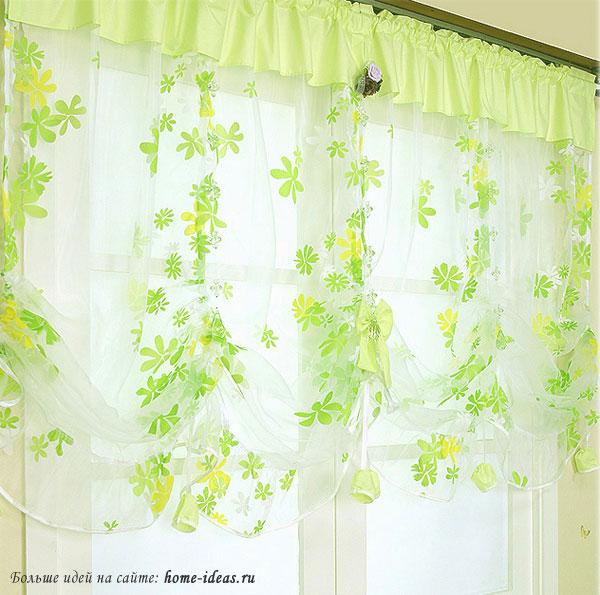 шторы на кухню фото зеленые