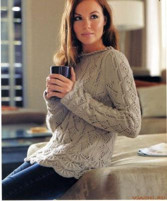 Пуловер цвета оливок - Вязание