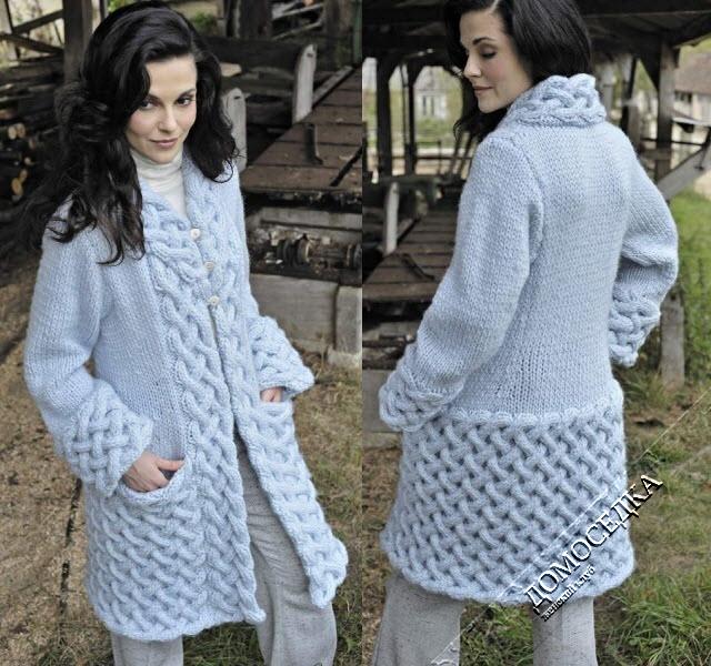 Красивое вязаное пальто с