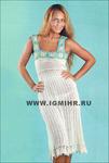 Летнее льняное платье с кокеткой из мотивов (вязание крючком) .