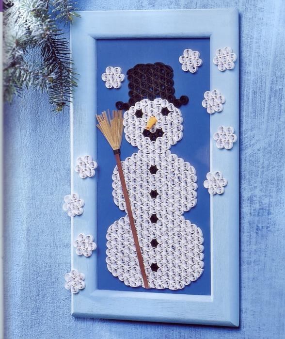 Снеговик из квиллинга своими руками