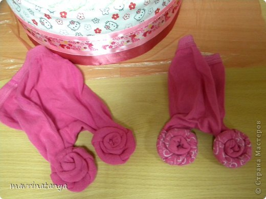 Роза из детских носочков мастер класс