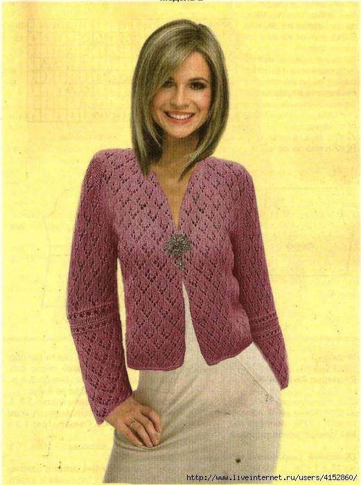 Вязание на спицах легкая кофточка