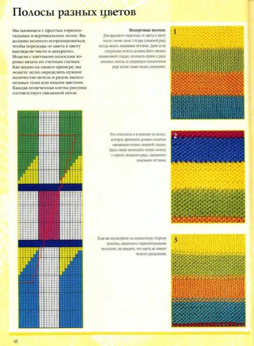 Вязание цветных полосок