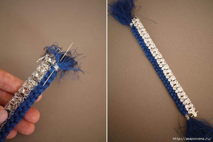 Украшаем браслет косичкой из ниток (7) (700x466, 201Kb)