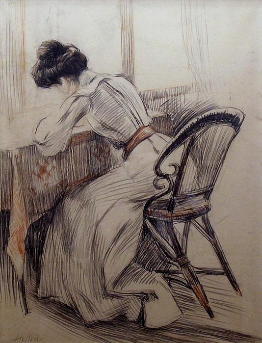 Paul César Helleu, French 1859-1927 - The Love Letter (534x700, 324Kb)