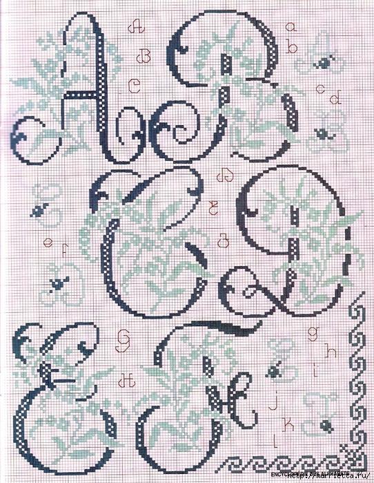 Красивая цветочная вышивка - АЛФАВИТ (14) (542x700, 428Kb)
