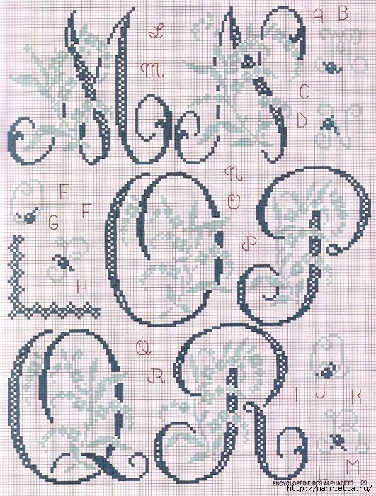 Красивая цветочная вышивка - АЛФАВИТ (16) (531x700, 415Kb)