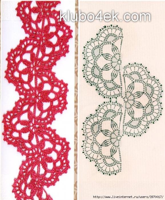 Вязание ленточного кружева крючком со схемами