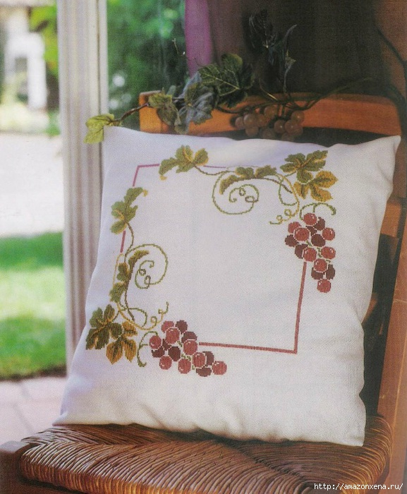 Схема вышивки винограда для скатерти и подушки (1) (577x700, 276Kb)