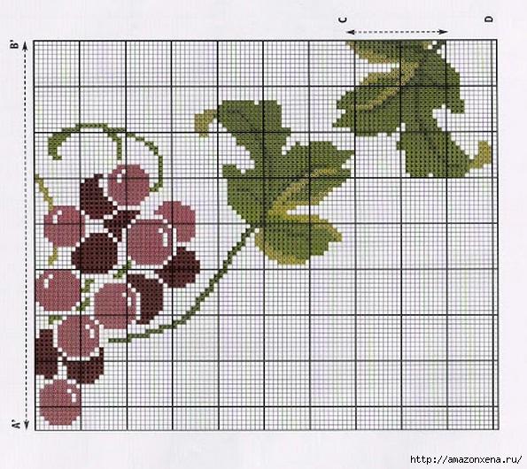 Схема вышивки винограда для скатерти и подушки (5) (595x530, 256Kb)