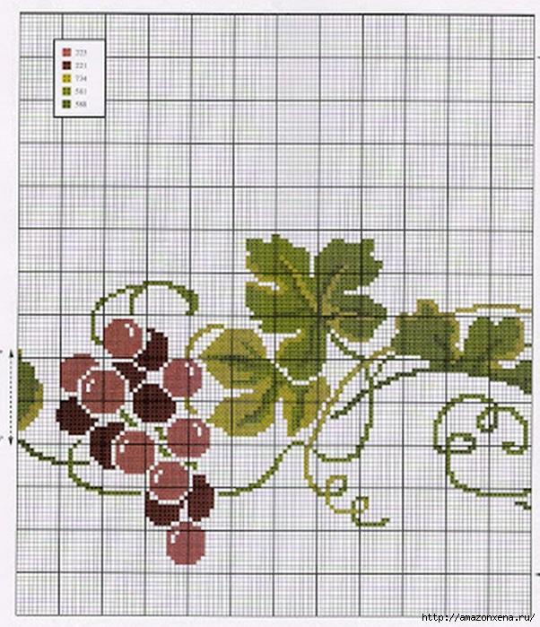 Схема вышивки винограда для скатерти и подушки (7) (602x700, 294Kb)