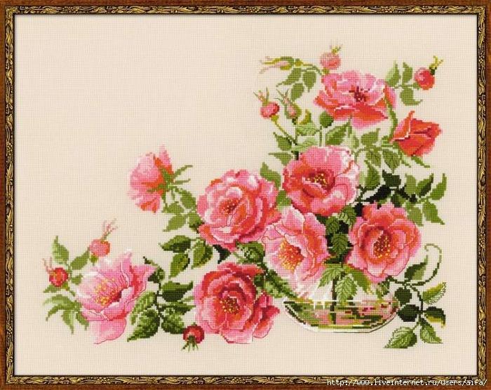 Вышивка крестом, схемы розы от