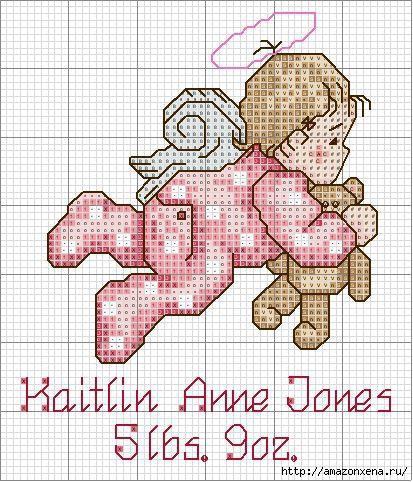 Схемы детской вышивки крестиком. Ангелочки (1) (413x482, 200Kb)