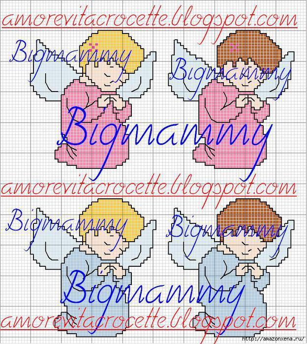 Схемы детской вышивки крестиком. Ангелочки (7) (624x700, 424Kb)