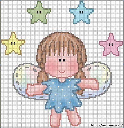 Схемы детской вышивки крестиком. Ангелочки (9) (499x512, 185Kb)