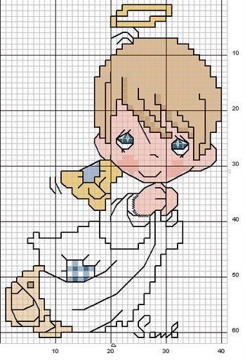 Схемы детской вышивки крестиком. Ангелочки (16) (349x512, 58Kb)