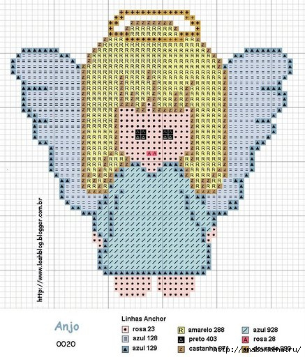 Схемы детской вышивки крестиком. Ангелочки (18) (437x512, 205Kb)