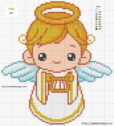 Схемы детской вышивки крестиком. Ангелочки (20) (464x512, 206Kb)